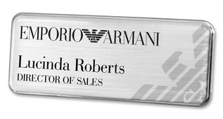 Prestige Premium name badges - Silver border and brushed silver background | www.namebadgesinternational.co.uk